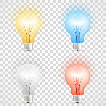 Set of colored transparent realistic glass light bulbs isolated on checkered background.