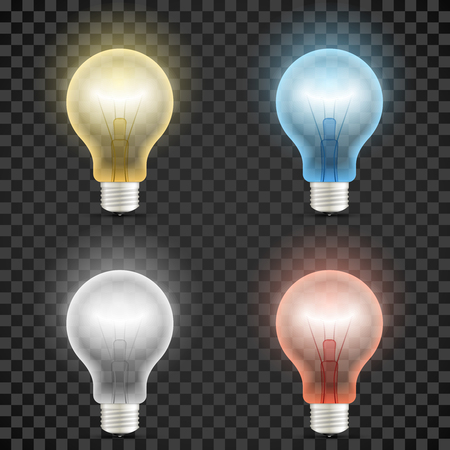 Set of colored transparent realistic glass light bulbs isolated on dark checkered background