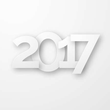 White paper happy new year 2017 with shadow. Creative typography greeting card design. Vectores