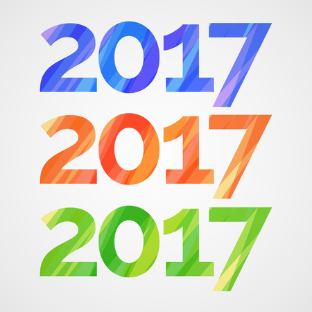 Happy new year 2017 creative greeting card design with colorful stripes.
