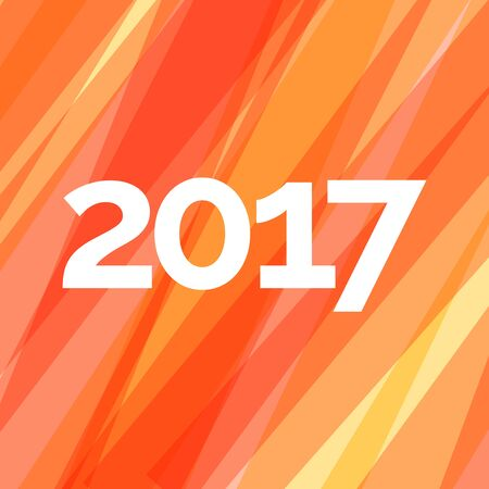 Happy new year 2017 creative greeting card design on red striped background. Vectores
