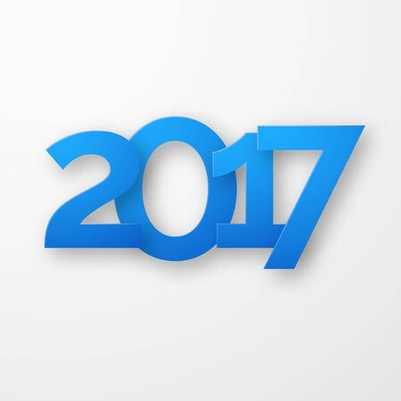 Blue paper happy new year 2017 with shadow. Creative typography greeting card design.