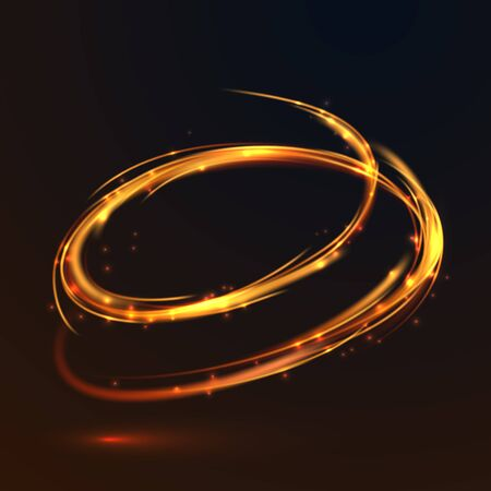 Glowing fire gold circle light effect on black background. Glitter sparkle round lines.