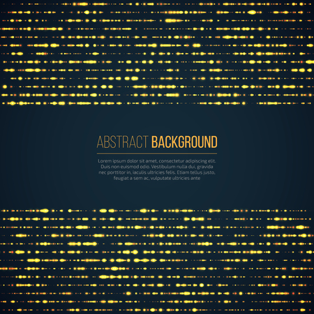 Abstract geometric technology background with glowing sparkles mades lines. Yellow circle particles glitter light effects.