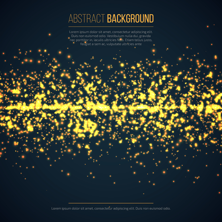 Abstract geometric technology background with glowing sparkles. Yellow circle particles glitter light effects.