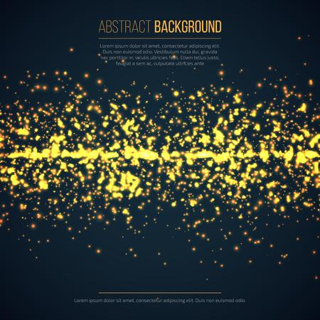 La tecnología de fondo geométrico abstracto con destellos brillantes. círculo amarillo partículas de purpurina efectos de luz. Foto de archivo - 62768732