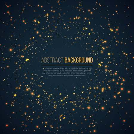 Abstract geometric technology background with glowing sparkles space explosion. Yellow circle particles glitter light effects.