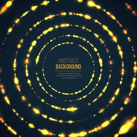 El fondo geométrico abstracto de la tecnología con resplandor que brilla intensamente mades círculos. Las partículas del círculo amarillo resplandecen los efectos de luz. Foto de archivo - 62768734
