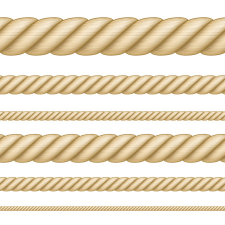 Set of seamless ropes of different thickness Vectores