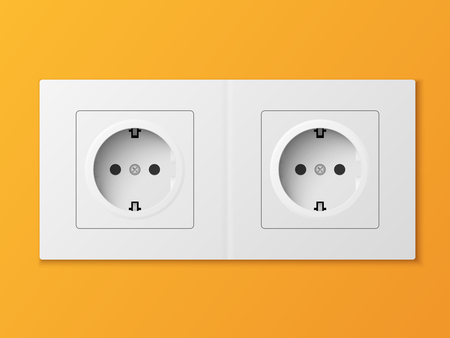 White double power socket on orange wall Vectores