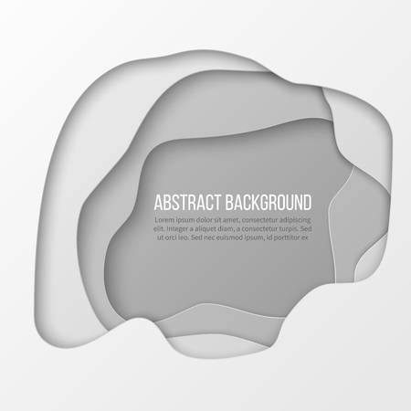 Abstract white paper cut layered background Vectores