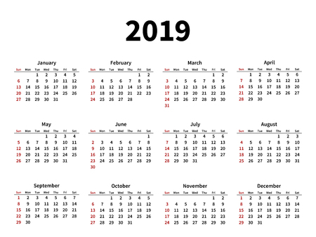 Calendar layout for 2019 year on white background Foto de archivo - 121695620