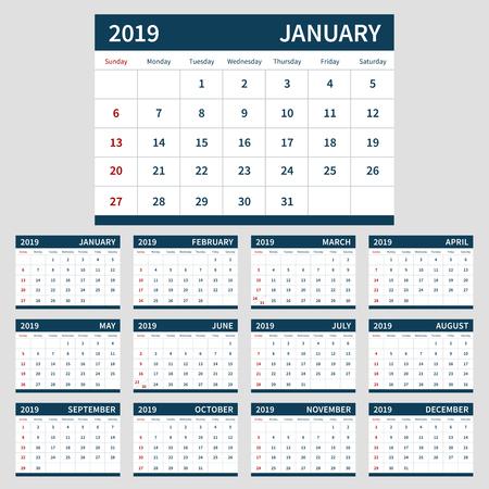 Calendar planner 2019 template, set of 12 month
