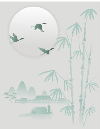 Oriental painting Landscape crane flies Vector