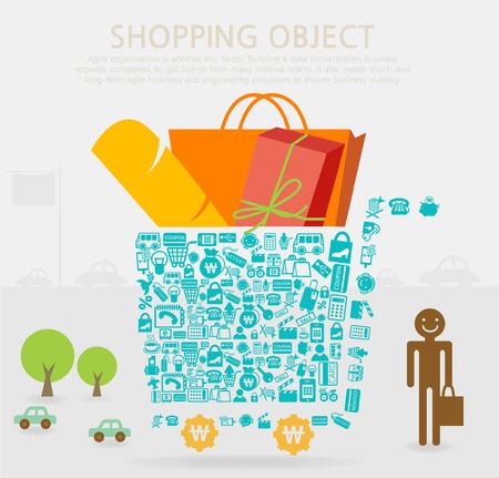 Stuff-filled shopping chart Vector