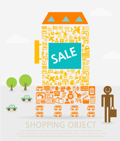 People shopping for Sale Vector