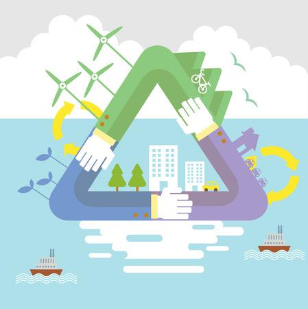 Zestaw ilustracji wektorowych projektowania mieszkania koncepcje ekologii, recyklingu i zielonych technologii
