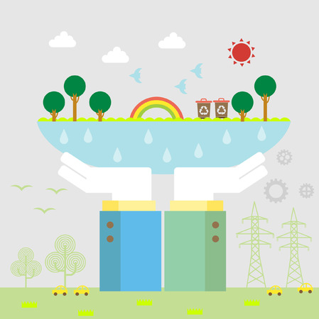 emission: Set of flat design vector illustration concepts for ecology, recycling and green technology   Illustration