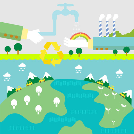 save planet: Set of flat design vector illustration concepts for ecology, recycling and green technology   Illustration