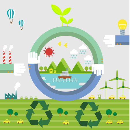 zero emission: Set of flat design vector illustration concepts for ecology, recycling and green technology   Illustration