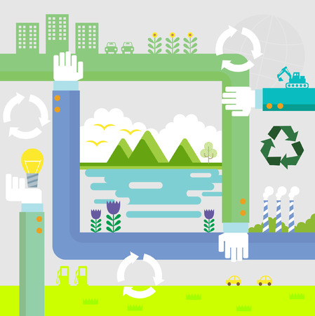 Set of flat design vector illustration concepts for ecology, recycling and green technology   Vector