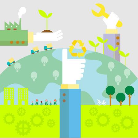 フラットなデザイン ベクトル イラスト概念エコロジー、リサイクル、グリーン技術のためのセット