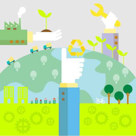 Set of flat design vector illustration concepts for ecology, recycling and green technology   Illustration