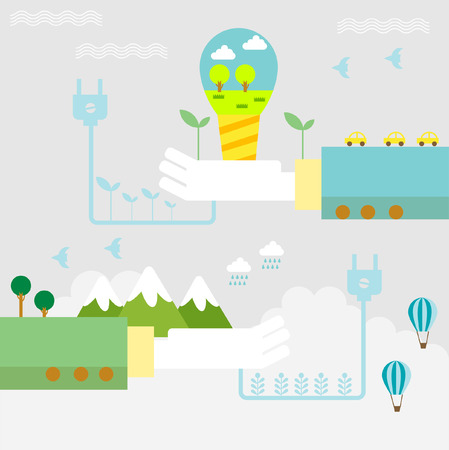 purification: Set of flat design vector illustration concepts for ecology, recycling and green technology   Illustration