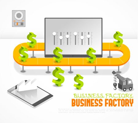 production process: Refined  illustration, combination of Business and factory image  Illustration