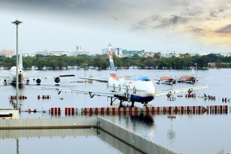 BANGKOK THAILAND - NOV 14 : scenes from Don Muang Airport Bangkok during its worst flooding in decades is a major disaster Nov 14,2011 in Bangkok Thailand.