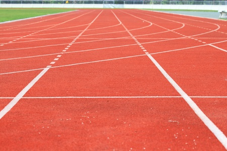 Running track of a sports stadium Stock Photo