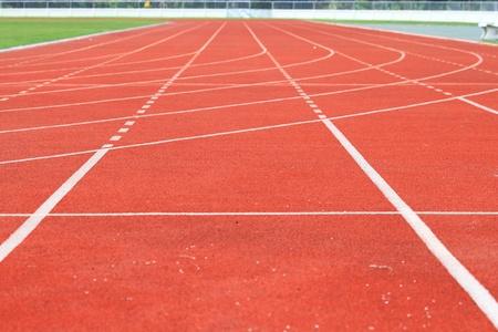 yardline: Running track of a sports stadium Stock Photo