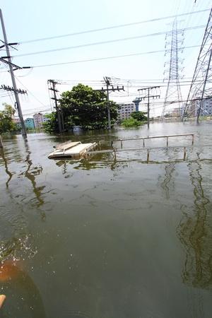 PRATHUMTHANI, THAILAND - OCT 23 : flooded street after flood disaster in Nava nakorn, Patumtana, Thailand on October 23, 2011.