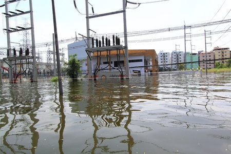 PRATHUMTHANI, THAILAND - OCT 23 : flooded street after flood disaster in Nava nakorn, Patumtana, Thailand on October 23, 2011. Editorial