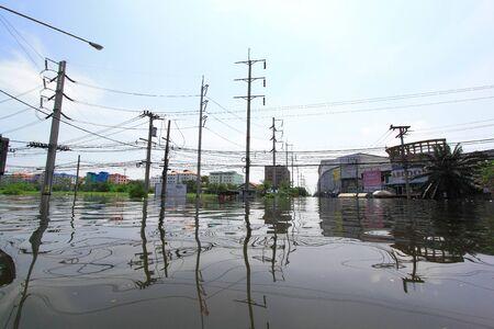 PRATHUMTHANI, THAILAND - OCT 23 : flooded street after flood disaster in Nava nakorn, Patumtana, Thailand on October 23, 2011. Editorial