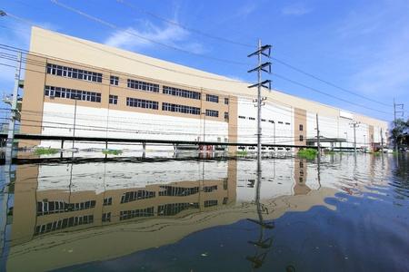 Heavy flooding in Nava nakorn, Prathumthani, Thailand  Editorial