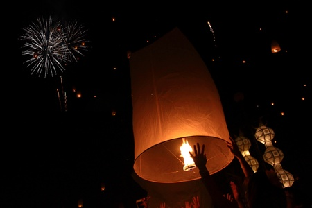 newyears: Yeepeng festival and fire work in chiangmai, Thailand