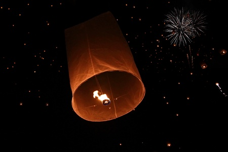 Yeepeng festival and fire work in chiangmai, Thailand photo