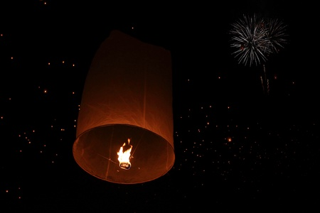 Yeepeng festival and fire work in chiangmai, Thailand