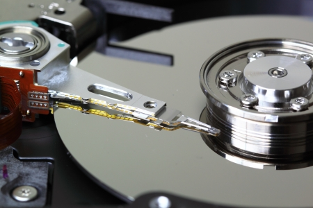 Detailed view of the inside of a hard disk drive  HDD  photo