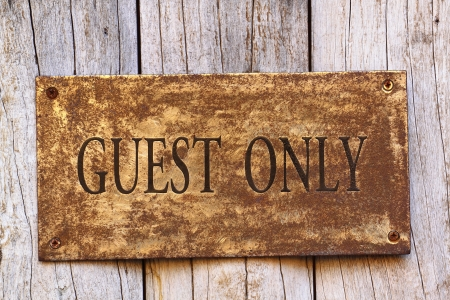 Guest sign on a metal