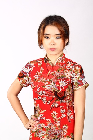chinese woman: Asian Chinese woman in Traditional Chinese Cheongsam