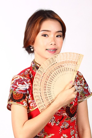 Chinese woman with fan photo