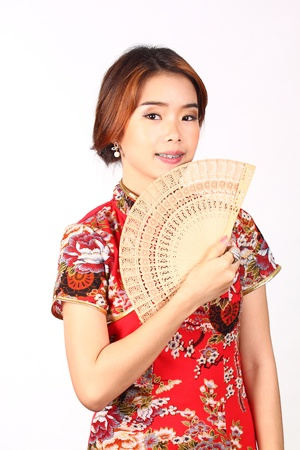 Chinese woman with fan Stock Photo