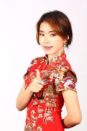 Asian Chinese woman in Traditional Chinese Cheongsam