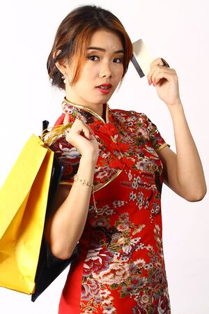 Asian Chinese woman shopping Stock Photo - 17475059