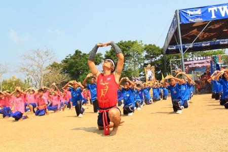 AYUTTHAYA - MARCH 17: The 9th World Thai Martial Arts Festival and Wai Khru Muay Thai Ceremony at Wat Mahathat Phra Nakhon Si Ayutthaya Historical Park on March 17, 2013 in Phra Nakhon Si Ayutthaya, Thailand. Editorial