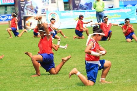 AYUTTHAYA - MARCH 17: The 9th World Thai Martial Arts\ Festival and Wai Khru Muay Thai Ceremony at Wat Mahathat Phra\ Nakhon Si Ayutthaya Historical Park on March 17, 2013 in Phra\ Nakhon Si Ayutthaya, Thailand.\