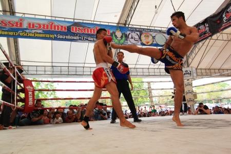 AYUTTHAYA - MARCH 17: The 9th World Thai Martial Arts Festival and Wai Khru Muay Thai Ceremony at Wat Mahathat Phra Nakhon Si Ayutthaya Historical Park on March 17, 2013 in Phra Nakhon Si Ayutthaya, Thailand. Publikacyjne