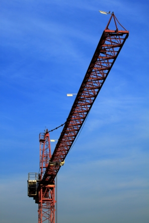 The construction crane on twilight Stock Photo
